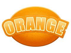 Label for orange juice or fruits. Bright premium design. Vector Illustration. - stock illustration