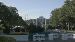 US Open Stadium behind NYPD temporary barriers Stock Footage