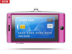 Mobile phone in the form of a wallet. Electronic purse. Vector Illustration. Stock Illustration