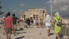Athens Greece tourists Erechtheum Temple 4K 038 Stock Footage