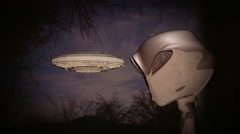 Alien and UFO flying saucer space ship Stock Footage