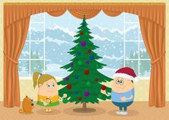 children decorating christmas fir tree - stock illustration