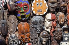 african masks for sell - stock photo
