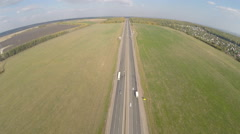 Highway road car top view Route Aerial view Stock Footage