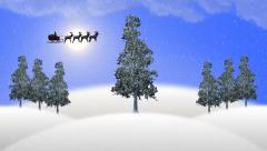 santa claus with sleigh and reindeers - christmas animation - stock footage