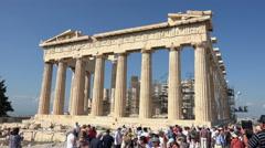 Stock Video Footage of Athens Greece Parthenon tourist crowd fast 4K 036