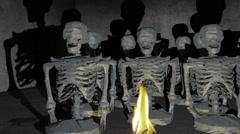 Creepy CG skeleton statue Stock Footage