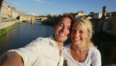 Happy couple selfie photo on travel in Florence - stock footage