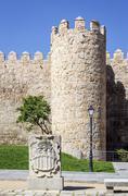 scenic medieval city walls of avila - stock photo