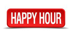 Stock Illustration of happy hour red 3d square button on white background