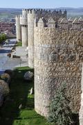 medieval city walls in avila - stock photo
