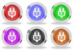electric power plug web icon button - stock illustration