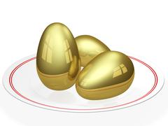 golden eggs in a ceramic plate - stock illustration