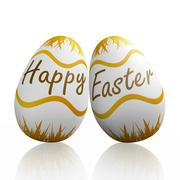 happy easter written on eggs - stock illustration