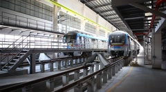Metro Train station Uppal Hyderabad India Stock Footage