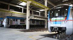 Metro Train station Uppal Hyderabad India Stock Footage