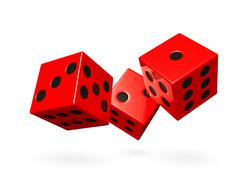 Red rolling game dice Stock Illustration