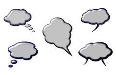 Set of grey beveled speech clouds Stock Illustration