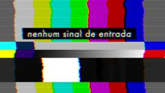 Bad TV Color Bars - No Signal - Portugese Text - Loop Stock Footage