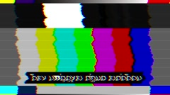 Bad TV Color Bars - No Signal - Greek Text - Loop Stock Footage