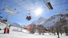 French Skiing Resort Cable Car Transport Travel Tourism Destination - stock footage