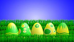 Yellow green easter eggs in grass Stock Illustration