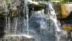Panning Slowly Down Beautiful, Tranquil Waterfall Stock Footage