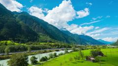 Alpine valley in Switzerland, 4k UHD timelapse - stock footage