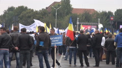 Placards national flags, people gathering for acclaiming new President, politics Stock Footage