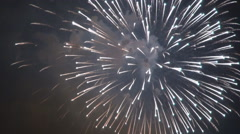Stock Video Footage of Pyrotechnics firework, happy event celebrating in night, colors on sky, holiday