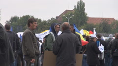 Presidential elections in Romania 2014, President supporters acclaiming, flags Stock Footage