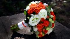 Wedding bouquet of fresh flowers. Stock Footage