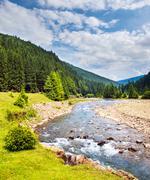 fast mountain river. - stock photo