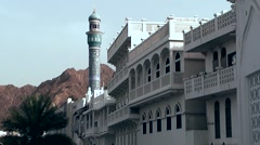 Muttrah (Matrah) Oman sultanate 029 cityscape with blue mosque minaret Stock Footage