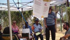Ebola virus checkpoint screening at Botswana / Zimbabwe border crossing (Africa) - stock footage