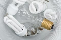 Assorted light bulbs, conventional and energy efficient Stock Photos