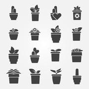 Houseplant icons set Stock Illustration