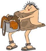 Cavewoman carrying laundry Stock Illustration