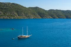 Beautiful view of ancient kekova island yacht boat in the mediterranean sea.  Stock Photos