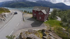 Panoramic view of a nordic house - stock footage