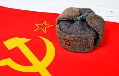 cap on the flag of the soviet union - stock photo