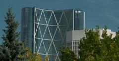 Bow Tower building in Calgary Alberta skyline, 4K Stock Footage