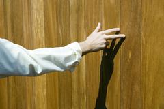 Stock Photo of Man touching wood paneling with fingers, cropped view