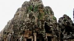 Pan Down of Remains of Ancient Temple Ruins  - Angkor Wat Stock Footage