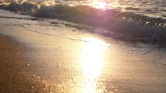 Serene Wave of the Sea on Sunset Beach. Slow Motion. - stock footage