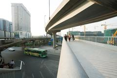 Footbridge and overpasses, wide angle view - stock photo