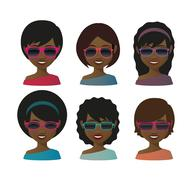Stock Illustration of female avatars with sunglasses