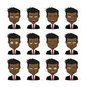 male avatar expression set - stock illustration