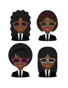 female avatars  wearing suit and funny sunglasses - stock illustration