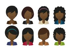 Stock Illustration of faceless female avatars set